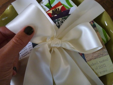 The finishing touch- a perfectly tied bow!