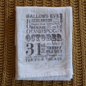 Halloween Subway Art Tea Towel