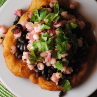 Indian Frybread Taco with Hominy Salsa