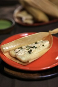 Chicken and Poblano Tamales with Cilantro Crema
