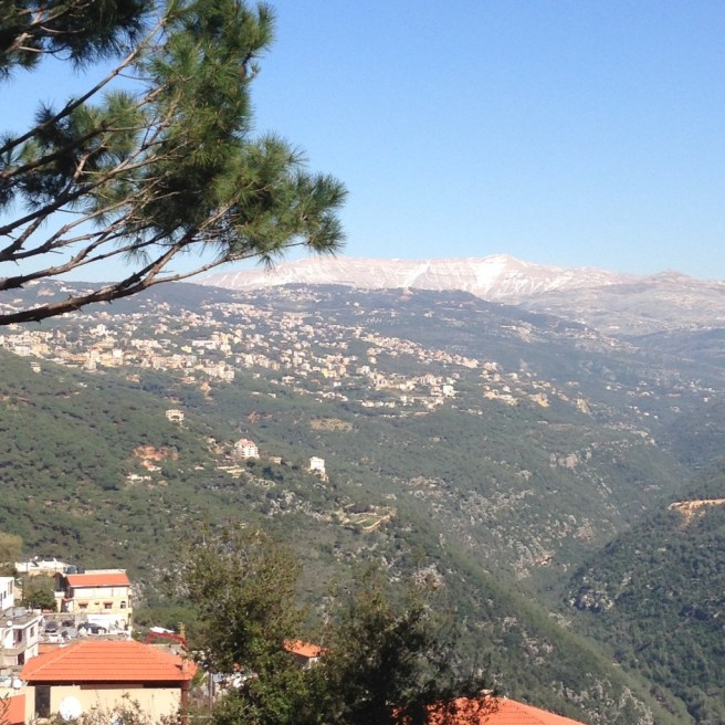 View of Sannine Mountain from Beit Meri in Mount Lebanon