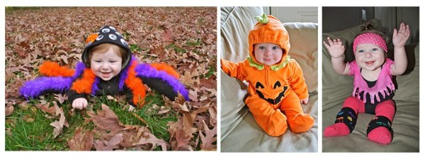 Last years costumes: Tarantula (homemade) Pumpkin (Hand-me-down) and 80's Aerobics instructor (homemade)