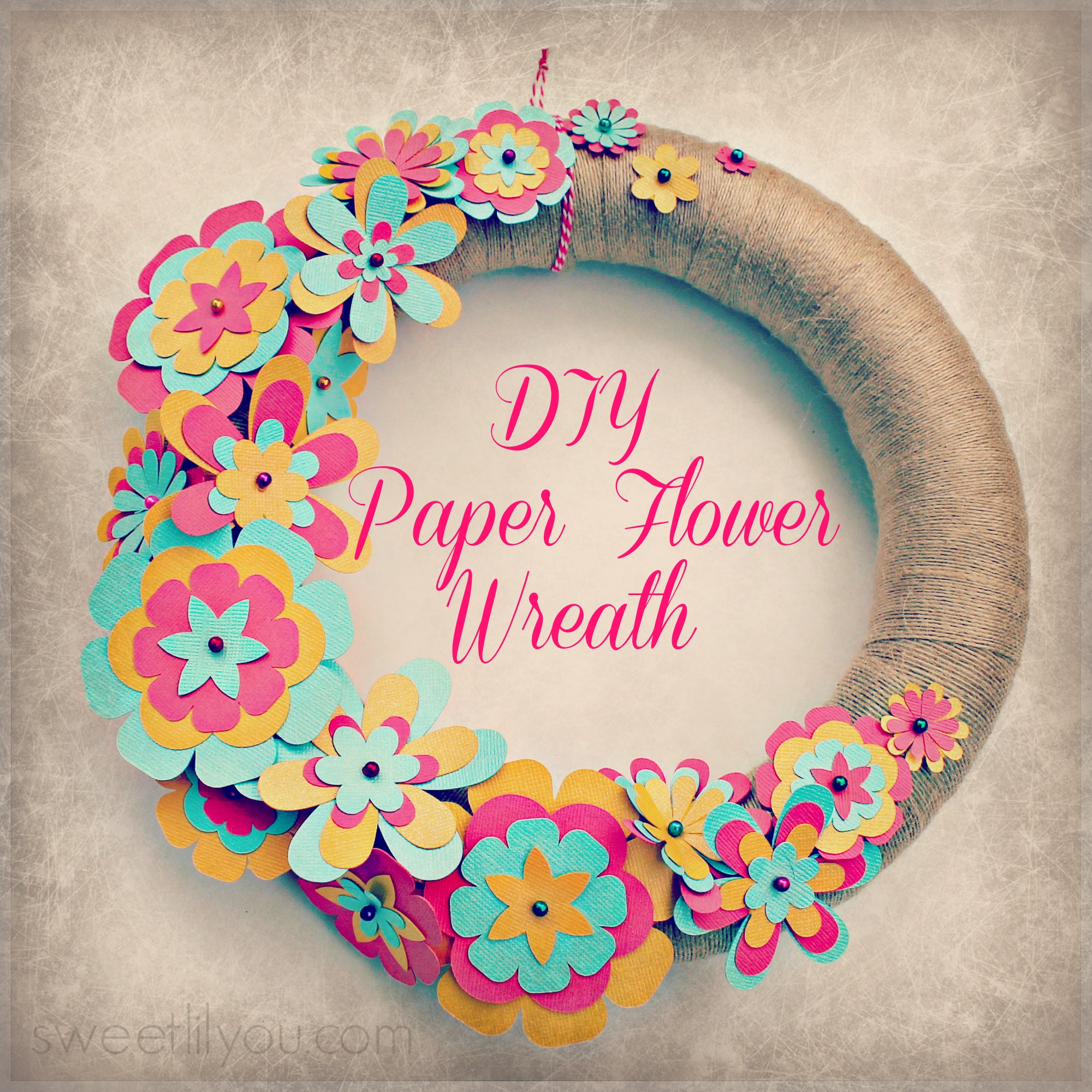 Easy diy paper flower wreath sweet lil you for Art and craft with paper easy