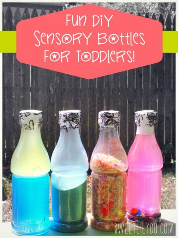 DIY Sensory Bottles for Toddlers! EASY! FUN! via sweetlilyou.com