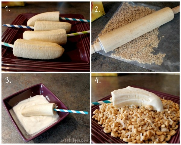 Easy banana recipes Yogurt and cheerio covered frozen bananas #PriceChopperB2S