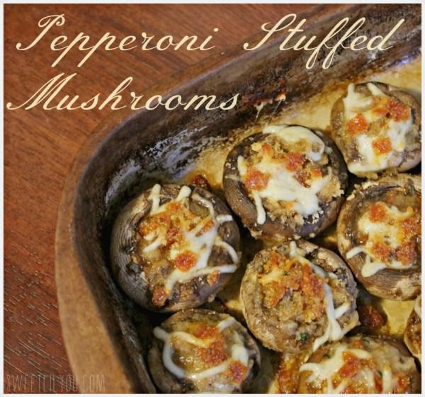 Pepperoni Stuffed Mushrooms - #PepItUp #ad