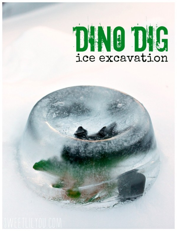 Dino Dig Ice Excavation Science and Sensory Activity for kids.