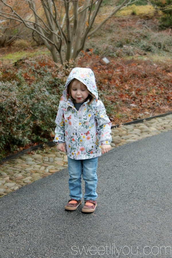 Avery in the rain. H&M Flower jacket