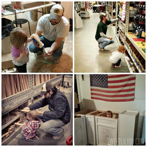 Little girl helping her dad. Woodworker