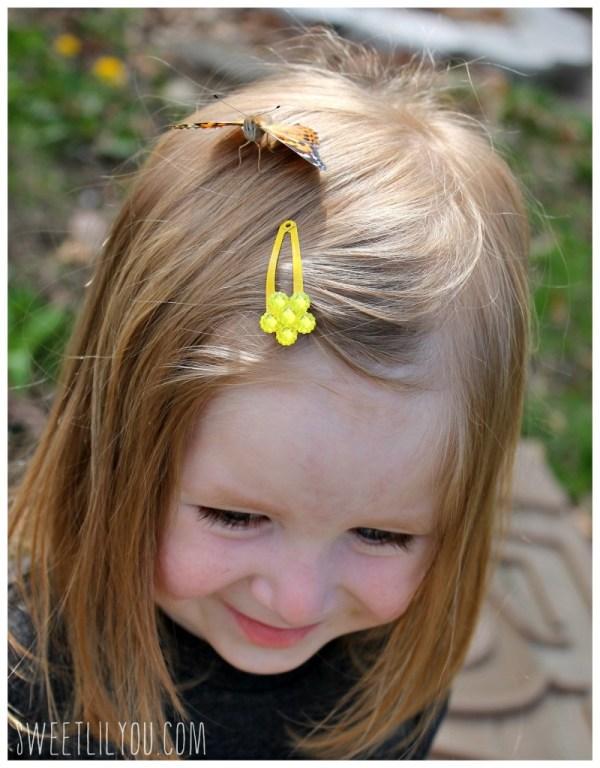 Butterfly in a avery's hair