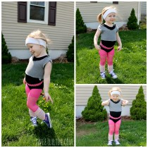 Toddler wearing an 80s aerobics costumer