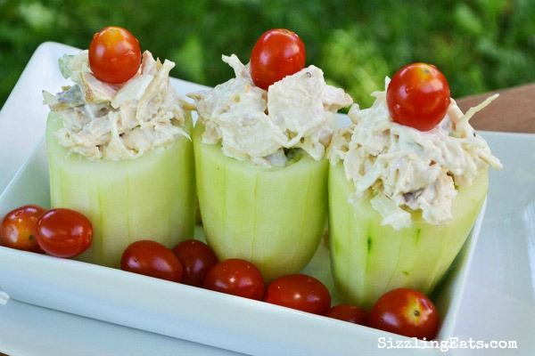 cucumber salad cups with chicken salad