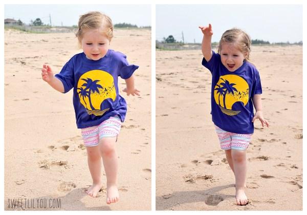 Avery running down the beach