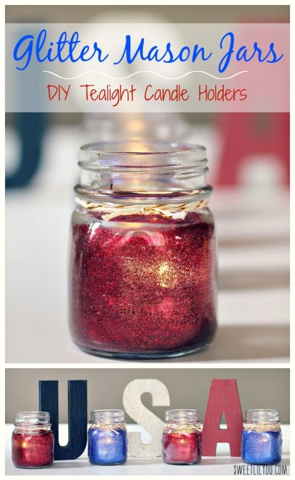 Glitter Mason Jars DIY Tealight Candle Holders