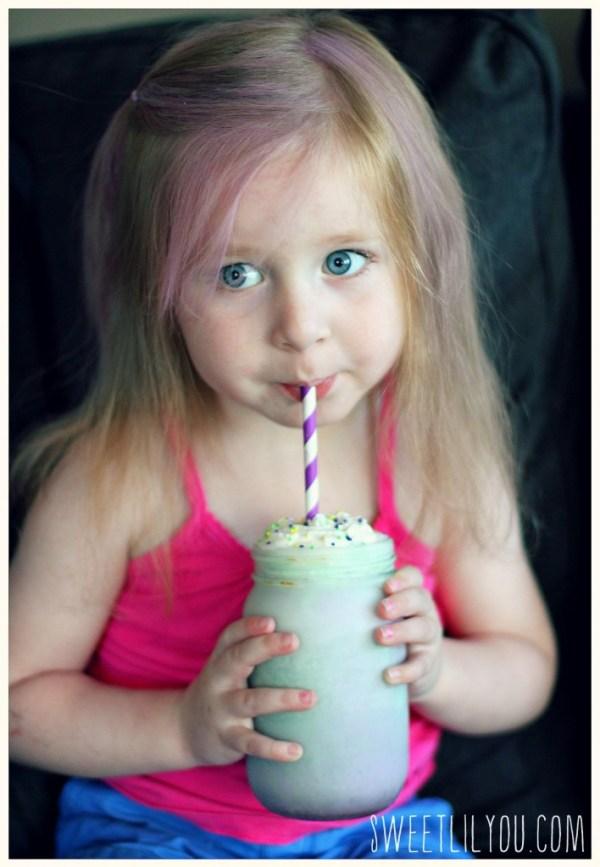 Avery drinking a milkshake