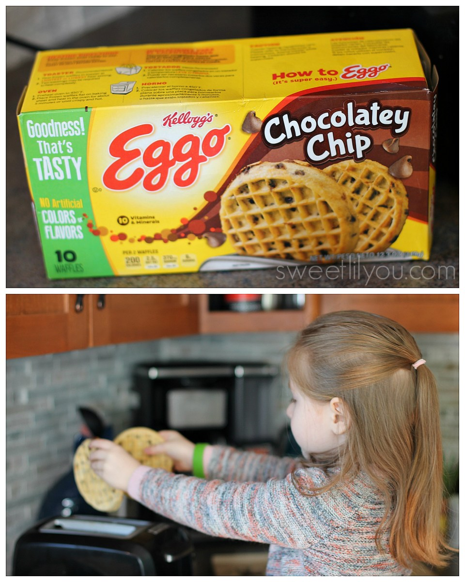Making eggo waffles