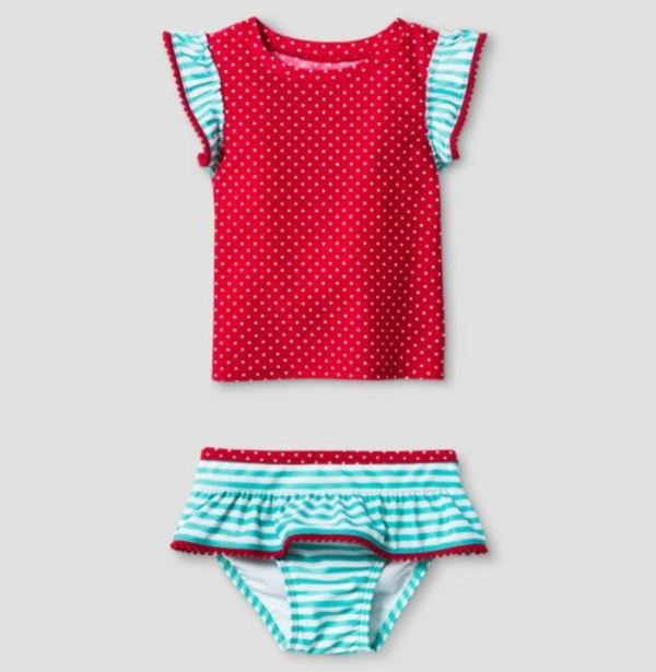 Little girls Tankini with Flounce Botton