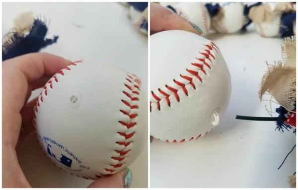 glue baseball wreath