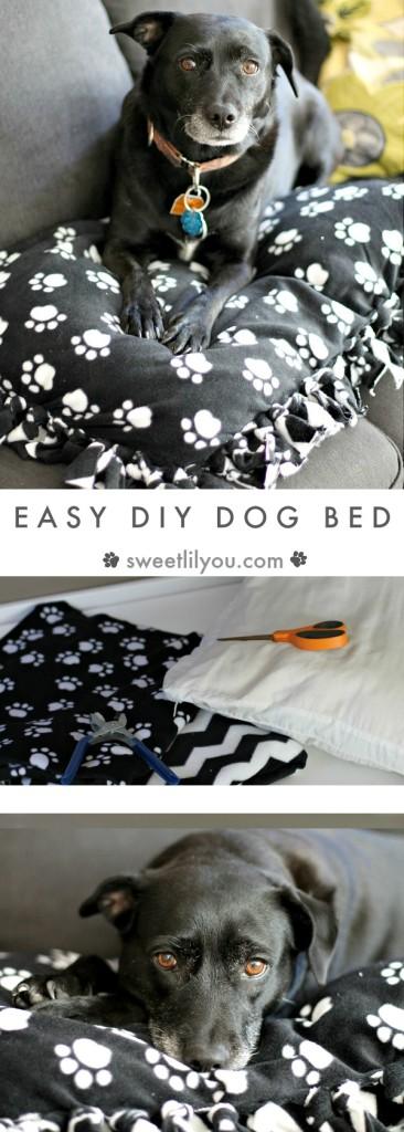 Easy DIY Dog Bed Fleece Blanket Dog Pillow