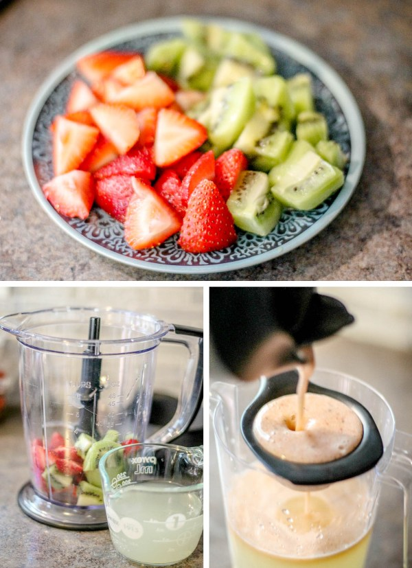 Blend the strawberries and kiwi