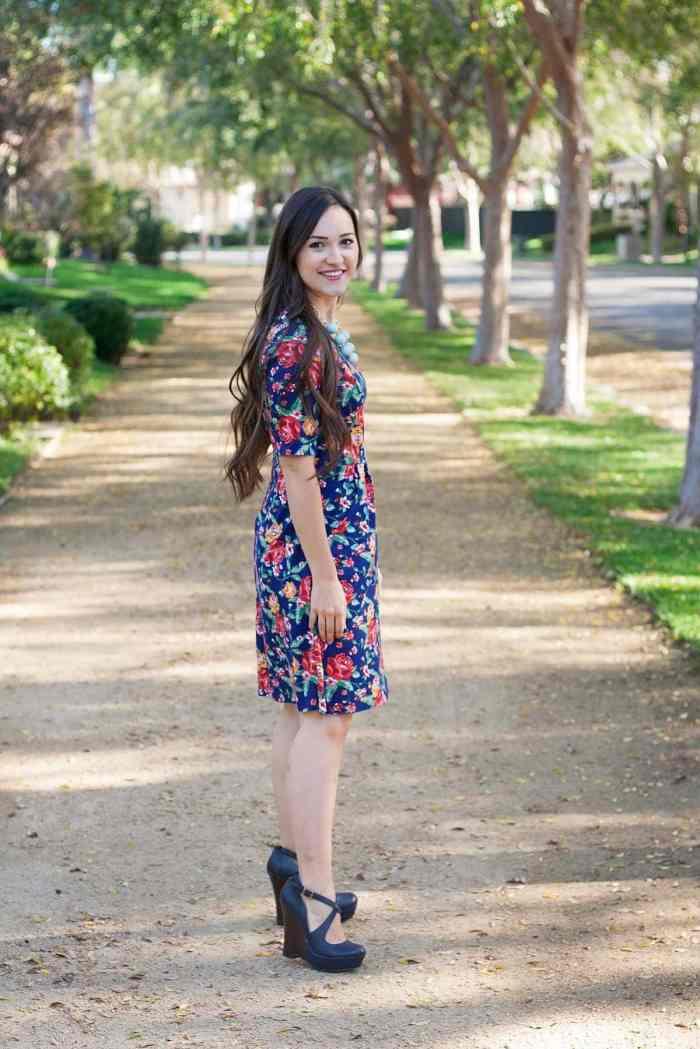 Hey June Handmade Charleston Dress with pockets in LA Finch Fabrics Floral Ponte De Roma