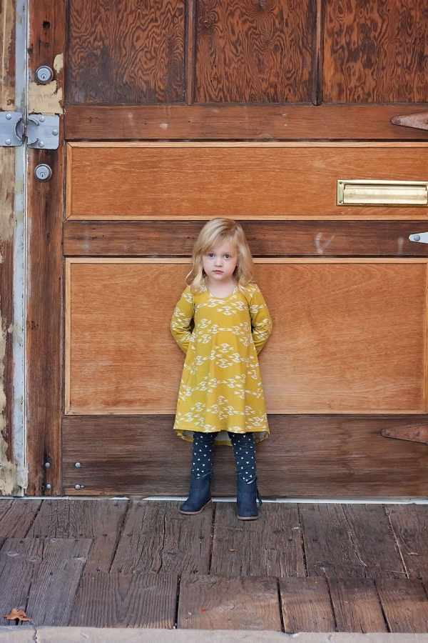 Art Gallery Overshot Gold Knit Fabric and Triangle Tokens. Sammy Swing Dress PDF Sewing Pattern.