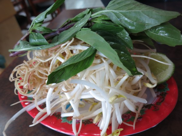 Bean Sprouts, Sliced Banana Blossom, Mint, Lime and Birds Eye Chili - Traditional Accompaniments