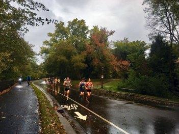 10-mile leaders in the rain.