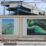 Oval Childhood Memories by Gabrielle Walcott and Sailing by Samantha Rochard on wall at the Oval in sweet T&T for Sweet TnT Magazine, Culturama Publishing Company, for news in Trinidad, in Port of Spain, Trinidad and Tobago, with positive how to photography.