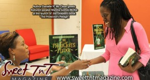 Author Danielle YC Mc Clean greets featured speaker Marsha Gomes-Mckie at lauch of children's book The Protector's Pledge, Literature, Sweet T&T, Sweet TnT, Trinidad and Tobago, Trini, vacation, travel, authors