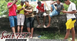 Teenagers on phones, Justin, Juliano, Kwesi, Richard, Chad, Rhondel, Maitagual, Bushe Street, San Juan, Sweet T&T, Sweet TnT, Trinidad and Tobago, Trini, vacation, travel