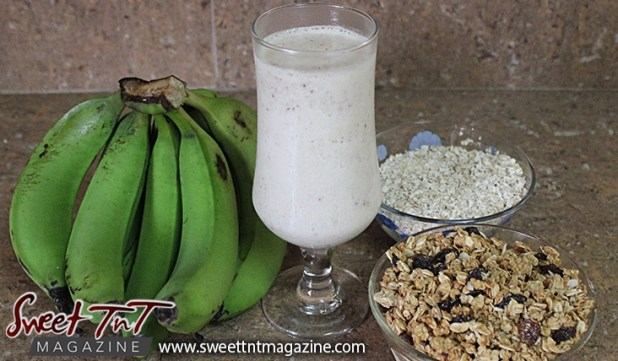 Green fig punch or milkshake recipes for health with granola, oats, blood building benefits in Sweet T&T, Sweet TnT, Trinidad and Tobago, Trini, vacation, travel,