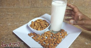 Almond milk glass, bowl, tray of almondsalso for food fraud article in sweet T&T for Sweet TnT Magazine, Culturama Publishing Company, for news in Trinidad, in Port of Spain, Trinidad and Tobago, with positive how to photography.