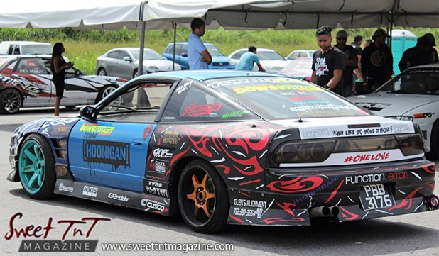 Hoonigan race car for Drifters in Wallerfield article by Marika Mohammed in sweet T&T for Sweet TnT Magazine, Culturama Publishing Company, for news in Trinidad, in Port of Spain, Trinidad and Tobago, with positive how to photography.