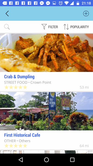Go Trinbago App Screenshot crab and dumpling and First Historical Cafe.
