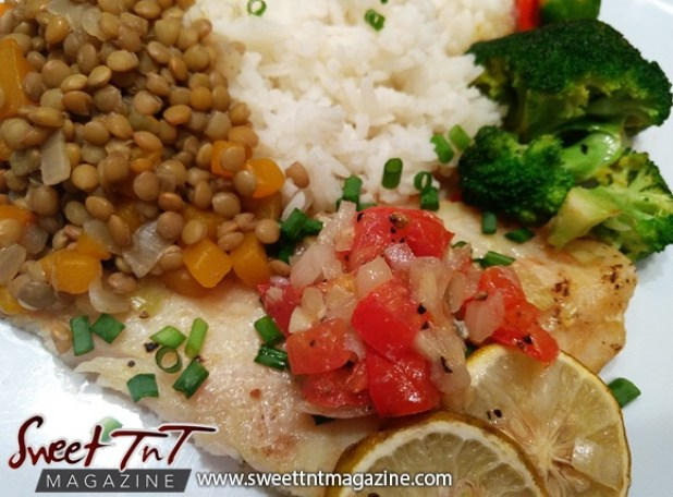Swai on plate with lentil peas, rice, and brocolli in sweet T&T for Sweet TnT Magazine, Culturama Publishing Company, for news in Trinidad, in Port of Spain, Trinidad and Tobago, with positive how to photography.