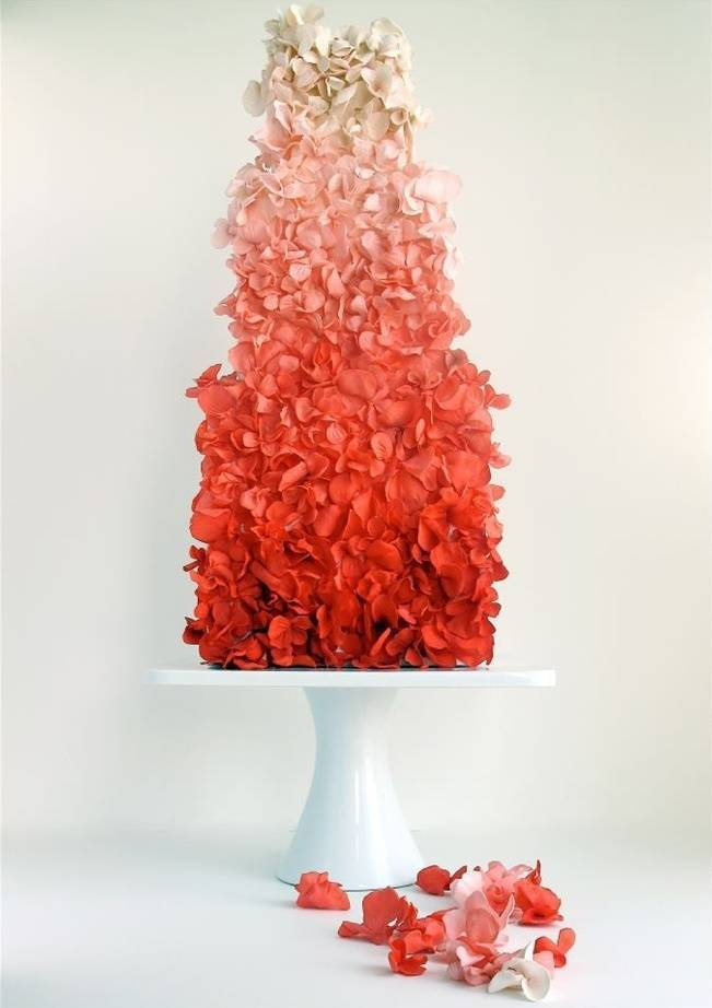 red petal ombre cake