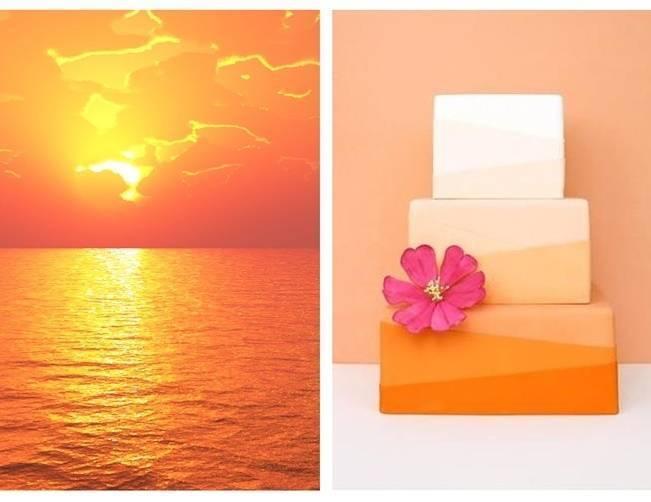 orange sunset ombre cake
