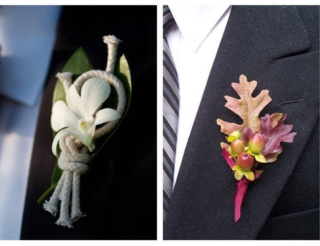 nautical knot boutonniere, fall oak leaf boutonniere