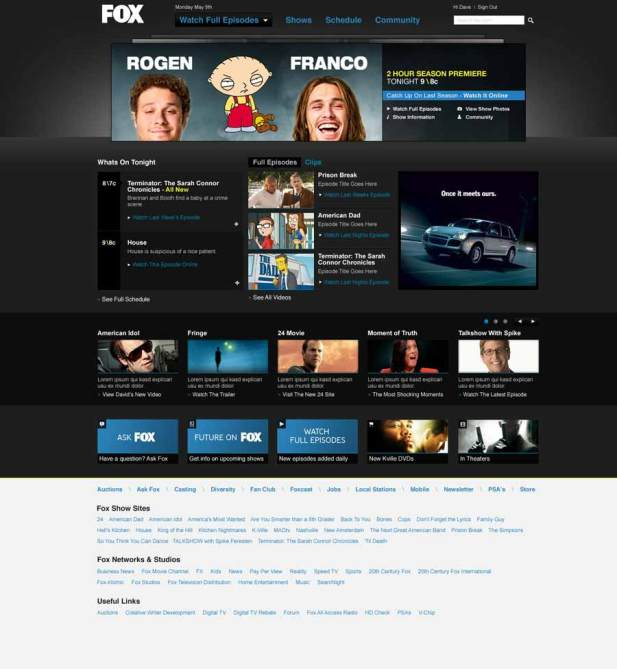 Fox.com Homepage Redesign with Special