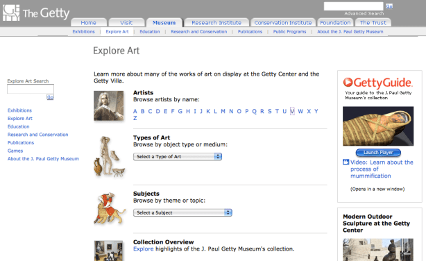 Getty Museum Explore Art