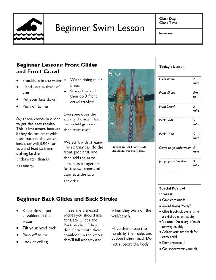 Detailed Swim Lesson Plan