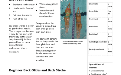 Swim Lesson Plan – Beginner Lesson Template