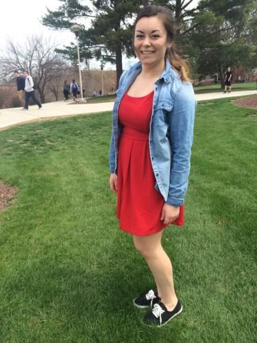Sophomore Jordan Tiburzi goes red and adds casual sneakers.
