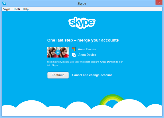 Merge Skype and Microsoft Accounts