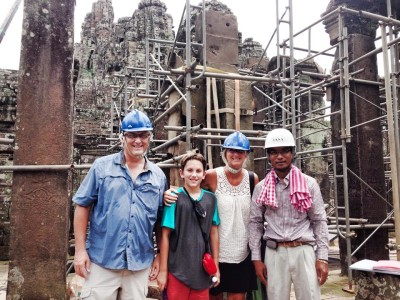 Touring the Bayon temple reconstruction site at Angkor Thom