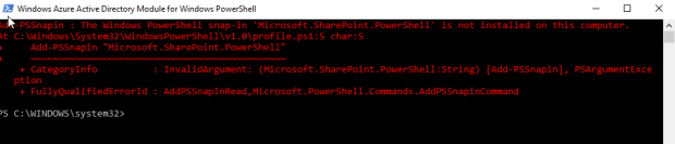 Windows Azure Active Directory Module for Windows PowerShell running...
