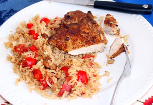 Old Favorite, New Twist (Recipe: Baked Pork Chops with Tomatoes and Rice)