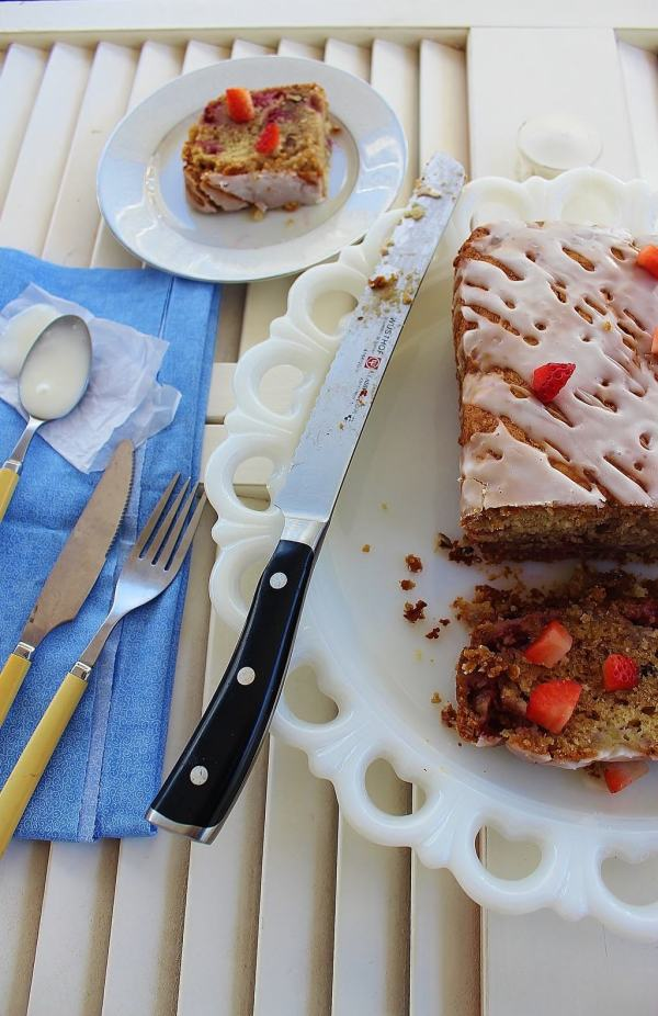 Strawberry Banana Pecan Biscuit Bread