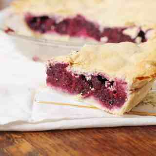 Blackberry Pie with Homemade Butter Crust. A three ingredient blackberry filling baked in a homemade butter crust. #blackberry #pie #butter #crust #southernfood